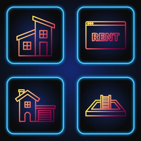 Set line Swimming pool with ladder, House, House and Hanging sign with text Online Rent. Gradient color icons. Vector Ilustrace