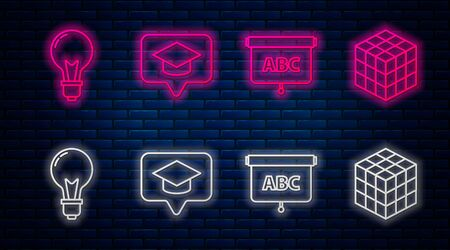 Set line Graduation cap in speech bubble, Chalkboard, Light bulb with concept of idea and Rubik cube. Glowing neon icon on brick wall. Vector Ilustracja