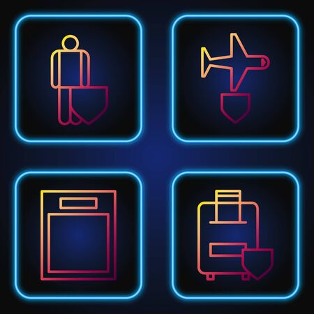 Set line Traveling baggage insurance, Empty form, Life insurance with shield and Plane with shield. Gradient color icons. Vector Ilustrace