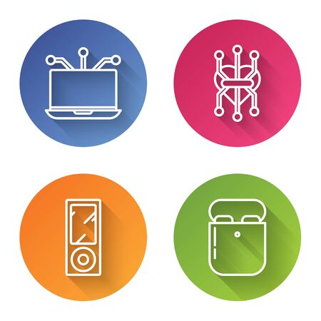 Set line Laptop, Processor, Music player and Air headphones in box. Color circle button. Vector