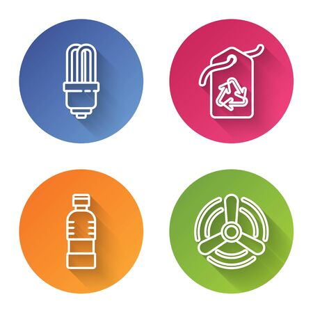 Set line LED light bulb, Tag with recycle symbol, Bottle of water and Wind turbine. Color circle button. Vector
