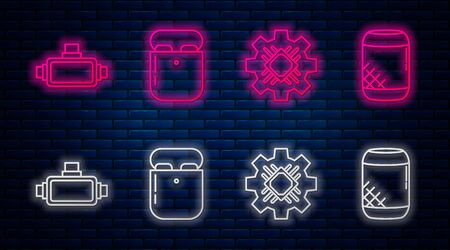 Set line Air headphones in box, Processor, Virtual reality glasses and Voice assistant. Glowing neon icon on brick wall. Vector Ilustrace