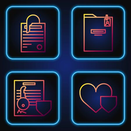 Set line Heart with shield, Document with key with shield, File document and paper clip and Personal folder. Gradient color icons. Vector Illustration