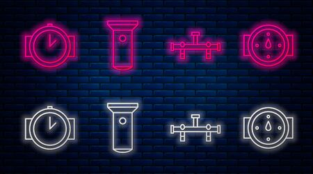 Set line Flashlight, Manifold, Diving watch and Wind rose. Glowing neon icon on brick wall. Vector