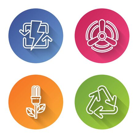 Set line Recharging, Wind turbine, Light bulb with leaf and Recycle symbol. Color circle button. Vector 일러스트