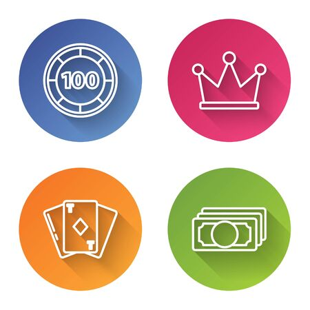 Set line Casino chips, Crown, Playing card with diamonds and Stacks paper money cash. Color circle button. Vector