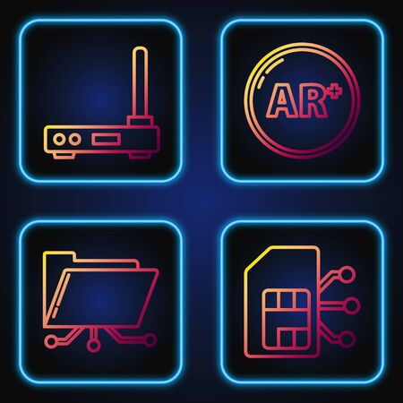 Set line Sim card, Folder and lock, Router and wifi signal and Ar, augmented reality. Gradient color icons. Vector Çizim
