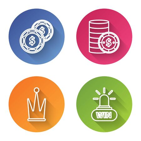 Set line Casino chip with dollar, Casino chip with dollar, Crown and Casino win. Color circle button. Vector Çizim
