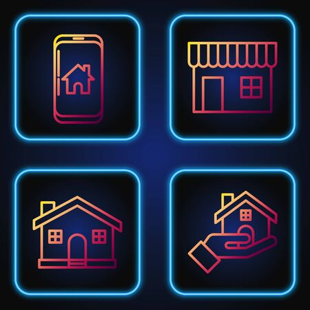 Set line Realtor, House, Mobile phone with smart home and Shopping building or market store. Gradient color icons. Vector