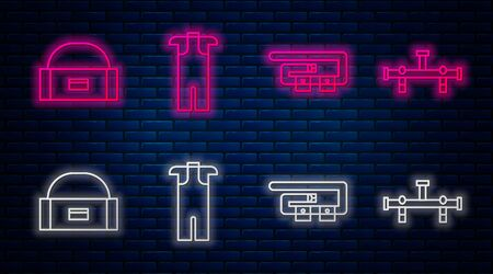 Set line Wetsuit for scuba diving, Diving belt, Case or box container for wobbler and Manifold. Glowing neon icon on brick wall. Vector Ilustração