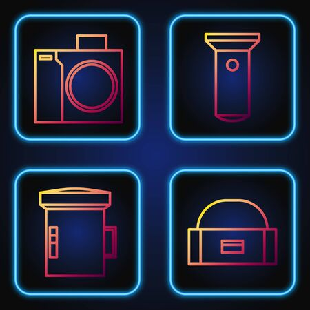Set line Case or box container for wobbler, Big flashlight for diver, Photo camera for diver and Flashlight. Gradient color icons. Vector