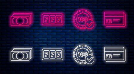 Set line Slot machine with lucky sevens jackpot, Casino chips, Stacks paper money cash and Credit card. Glowing neon icon on brick wall. Vector