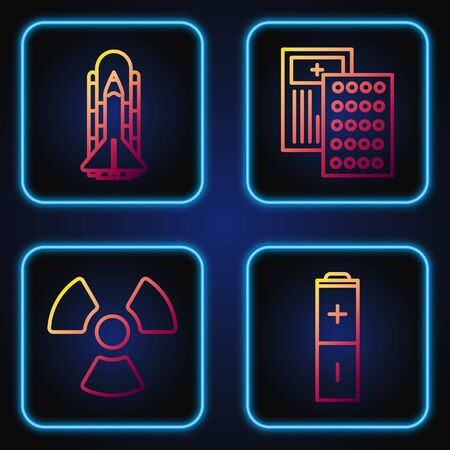 Set line Battery, Radioactive, Space shuttle and rockets and Pills in blister pack. Gradient color icons. Vector
