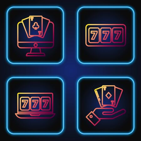 Set line Hand holding deck of playing cards, Online slot machine with lucky sevens jackpot, Online poker table game and Slot machine with lucky sevens jackpot. Gradient color icons. Vector