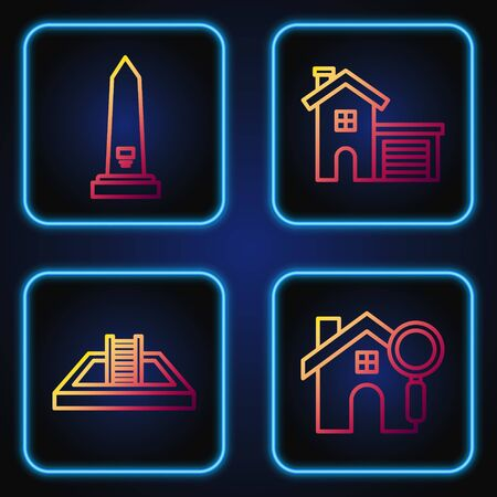 Set line Search house, Swimming pool with ladder, Washington monument and House. Gradient color icons. Vector Ilustrace