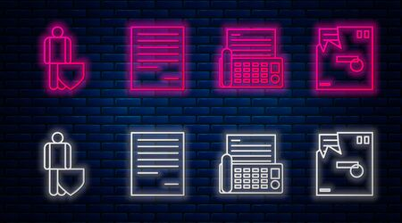 Set line Document, Fax machine, Life insurance with shield and Ordered envelope. Glowing neon icon on brick wall. Vector Ilustración de vector