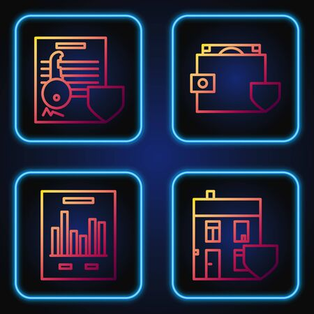 Set line House with shield, Document with graph chart, Document with key with shield and Wallet and money with shield. Gradient color icons. Vector