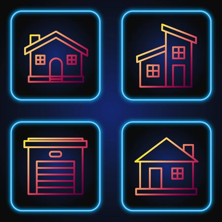 Set line House, Garage, House and House. Gradient color icons. Vector Ilustrace