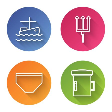 Set line Fishing boat on water, Neptune Trident, Swimming trunks and Big flashlight for diver. Color circle button. Vector