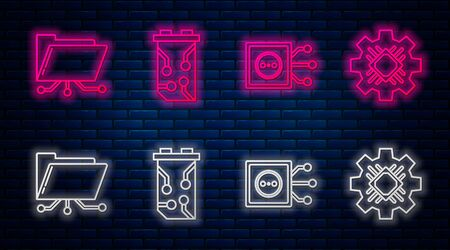 Set line Video graphic card, Remote control, Folder and lock and Processor. Glowing neon icon on brick wall. Vector