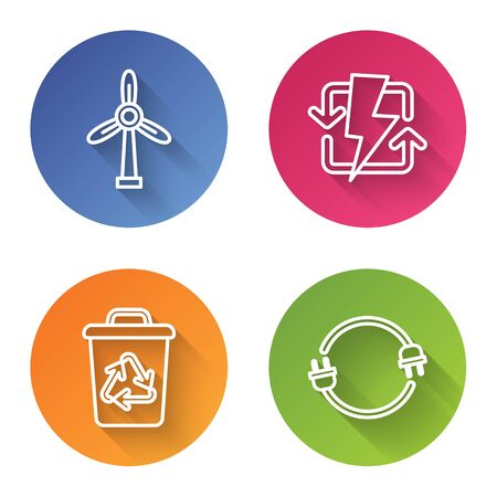 Set line Wind turbine, Recharging, Recycle bin with recycle symbol and Electric plug. Color circle button. Vector