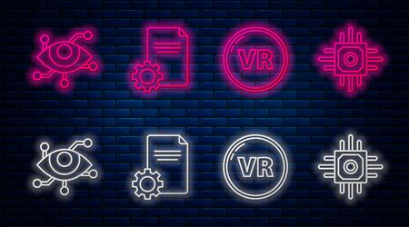 Set line File document, Virtual reality, Virtual reality and Processor. Glowing neon icon on brick wall. Vector