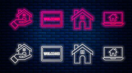 Set line Doormat with the text Welcome, House, Realtor and Laptop and smart home. Glowing neon icon on brick wall. Vector