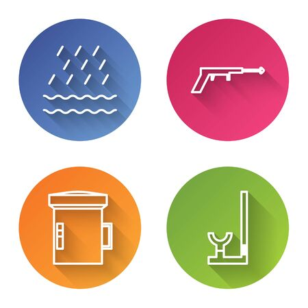 Set line Rain and waves, Fishing harpoon, Big flashlight for diver and Snorkel. Color circle button. Vector