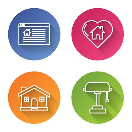 Set line Hanging sign with text Online Sale, House with heart shape, House and Table lamp. Color circle button. Vector