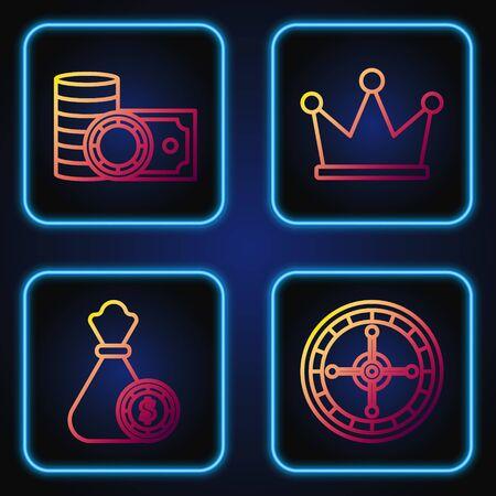 Set line Casino roulette wheel, Money bag and casino chips, Casino chips and stacks money cash and Crown. Gradient color icons. Vector Çizim