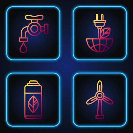 Set line Wind turbine, Recycling plastic bottle, Water tap and Electric saving plug in leaf. Gradient color icons. Vector 일러스트