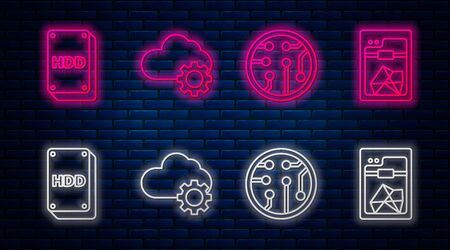 Set line Cloud technology data transfer and storage, Processor, Hard disk drive HDD and 3D printer. Glowing neon icon on brick wall. Vector Ilustrace