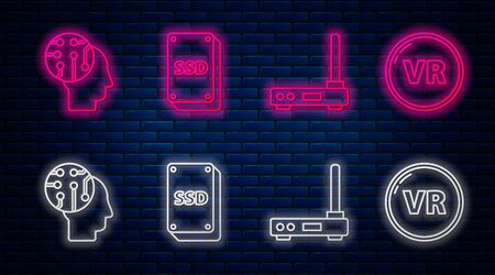 Set line SSD card, Router and wifi signal, Human brain as digital circuit board and Virtual reality. Glowing neon icon on brick wall. Vector