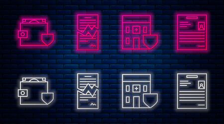 Set line Torn contract, Medical hospital building with shield, Wallet and money with shield and Personal document. Glowing neon icon on brick wall. Vector