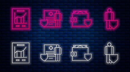Set line Medical clipboard with clinical record, Wallet and money with shield, Document with graph chart and Life insurance with shield. Glowing neon icon on brick wall. Vector