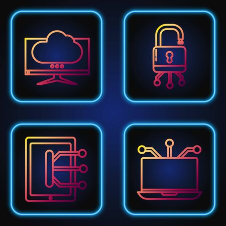 Set line Laptop, Tablet, Computer monitor screen and Lock on digital circuit board. Gradient color icons. Vector