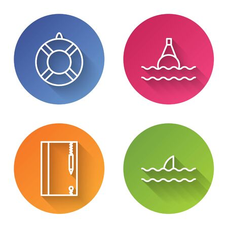 Set line Lifebuoy, Floating buoy on the sea, Underwater note book and pencil and Shark fin in ocean wave. Color circle button. Vector Ilustração