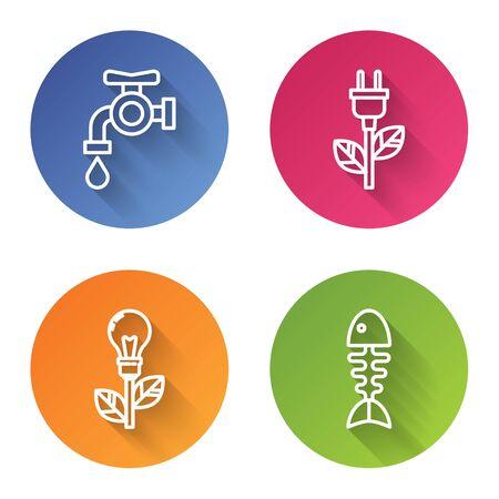 Set line Water tap, Electric saving plug in leaf, Light bulb with leaf and Fish skeleton. Color circle button. Vector Vektoros illusztráció