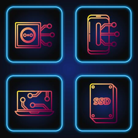 Set line SSD card, Laptop, Remote control and Smartphone, mobile phone. Gradient color icons. Vector