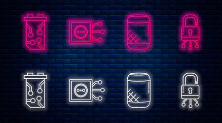 Set line Remote control, Voice assistant, Video graphic card and Lock on digital circuit board. Glowing neon icon on brick wall. Vector Ilustrace