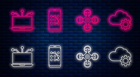 Set line Mobile and graphic password protection, Drone, Laptop and Cloud technology data transfer and storage. Glowing neon icon on brick wall. Vector