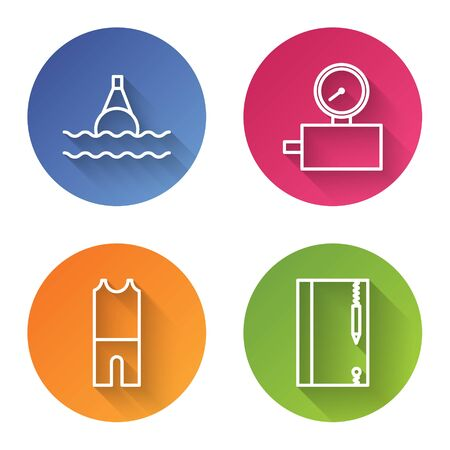 Set line Floating buoy on the sea, Gauge scale, Wetsuit for scuba diving and Underwater note book and pencil. Color circle button. Vector Ilustração