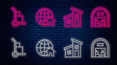 Set line Globe with house symbol, House, Hand truck and boxes and Warehouse. Glowing neon icon on brick wall. Vector Ilustrace