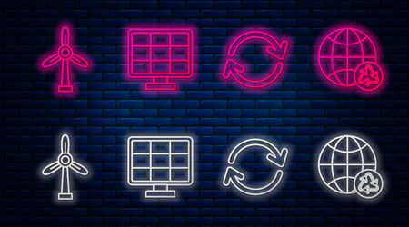 Set line Solar energy panel, Refresh, Wind turbine and Planet earth and a recycling. Glowing neon icon on brick wall. Vector