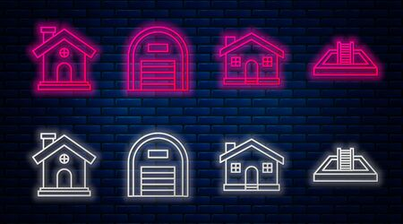 Set line Warehouse, House, House and Swimming pool with ladder. Glowing neon icon on brick wall. Vector