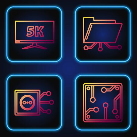 Set line Processor, Remote control, Monitor display with 5k video and Folder and lock. Gradient color icons. Vector Ilustrace