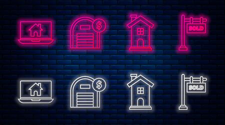 Set line Warehouse with dollar symbol, Home symbol, Laptop and smart home and Hanging sign with text Sold. Glowing neon icon on brick wall. Vector