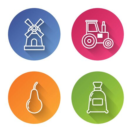 Set line Windmill, Tractor, Pear and Bag of flour. Color circle button. Vector