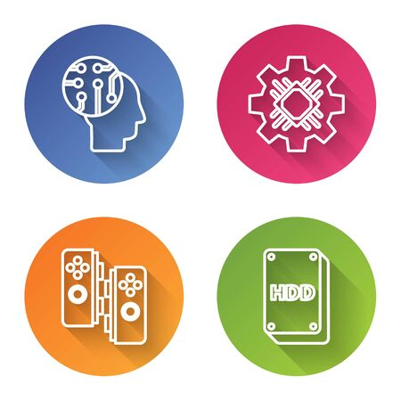 Set line Human brain as digital circuit board, Processor, Gamepad and Hard disk drive HDD. Color circle button. Vector