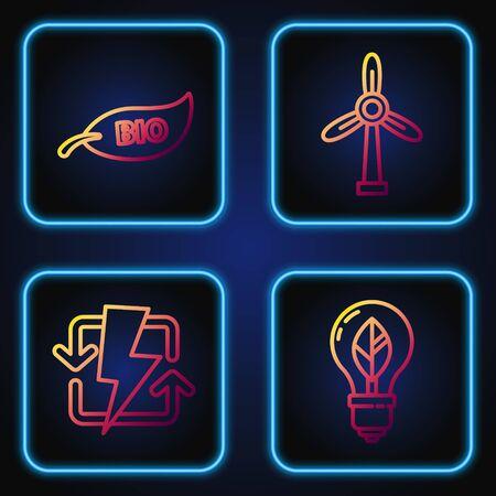 Set line Light bulb with leaf, Recharging, Leaf Bio symbol and Wind turbine. Gradient color icons. Vector
